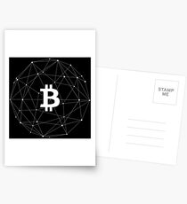 Bitcoin Cryptocurrency Decentralized Logo white Postcards
