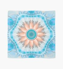 Clean and Pure Turquoise and White Fractal Flower Scarf