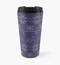 Christmas seamless pattern. Knitted festive illustration. Ugly sweater style. Nordic ornament. Travel Mug