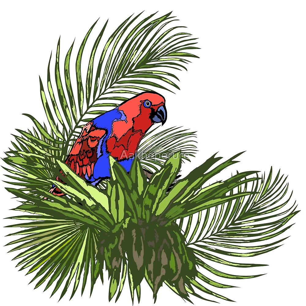 Rainforest Retreat: Eclectus by Aakheperure