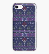 Christmas seamless pattern with Santa and Ho Ho Ho quote. Knitted festive illustration. Ugly sweater style. Nordic ornament. iPhone Case/Skin