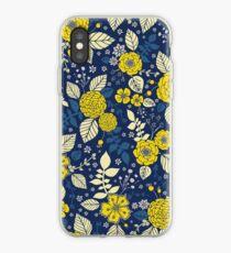 Imprimé floral jaune et bleu vif - Fleurs vibrantes Coque et skin iPhone