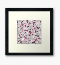 Snowfall - Silver and Cranberry Framed Print