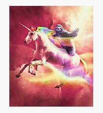 Epic Space Sloth Riding On Unicorn  Photographic Print