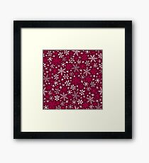 Snowfall - Dark Cranberry and Gray Framed Print