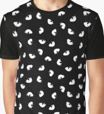 Black and White Cat Pattern Graphic T-Shirt