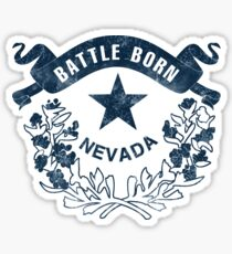 Pegatina Nevada. Battle Born Flag. Vintage, retro, apenado.