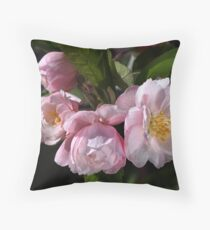 Crabapple Flowers Attract Bees Throw Pillow