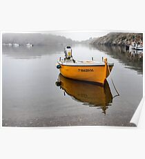 Yellow boat in the mist Poster