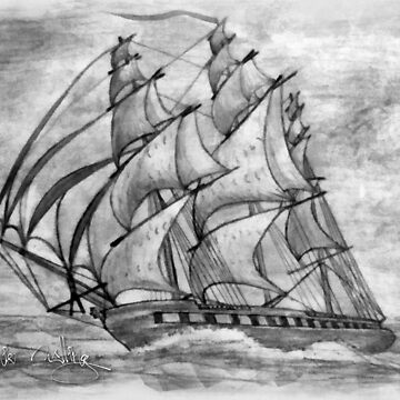 My Pencil Drawing (enhanced) of a Tea Clipper 19th century by ZipaC