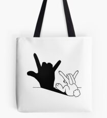 Rabbit Love Hand Shadow Tote Bag