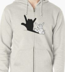 Rabbit Love Hand Shadow Zipped Hoodie