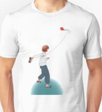 Romantic girl playing with red flying paper kite  T-Shirt