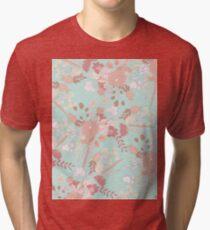 Vintage green pastel coral white rustic floral Tri-blend T-Shirt