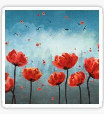 Poppy flowers Misty Forest  Sticker