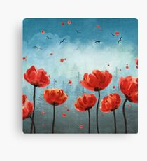 Poppy flowers Misty Forest  Canvas Print