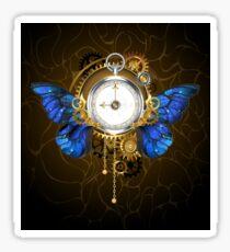 Clock with Blue Butterfly Wings Sticker