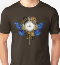 Clock with Blue Butterfly Wings Unisex T-Shirt