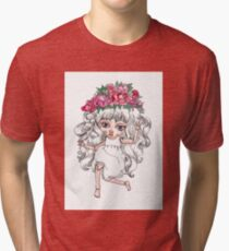Cute crying doll with peonies flower crown Tri-blend T-Shirt