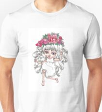 Cute crying doll with peonies flower crown T-Shirt