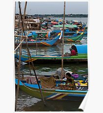Cambodian Fishing Boats Poster