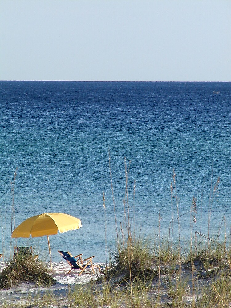 Yellow Umbrella at the Beach by hbryson