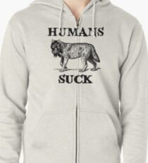 Humans Suck Zipped Hoodie