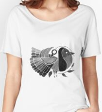 Black and White Bird female symbol Women's Relaxed Fit T-Shirt