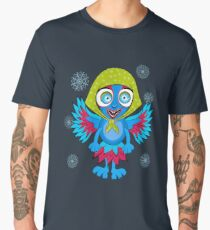 Monster-bird with horns, big eyes, teeth and handkerchief on his head. Cartoon flat style vector illustration. Men's Premium T-Shirt