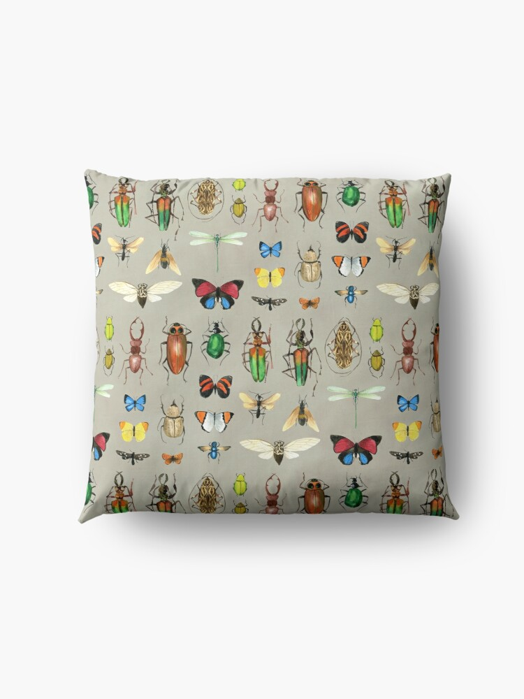 Alternate view of The Usual Suspects - Insects on grey - watercolour bugs pattern by Cecca Designs Floor Pillow
