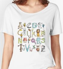 Funny colourful animal alphabet - comic - letters - animals - Gift Women's Relaxed Fit T-Shirt