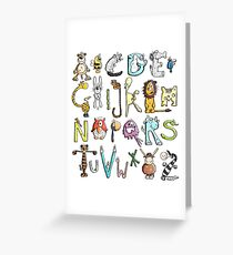 Funny colourful animal alphabet - comic - letters - animals - Gift Greeting Card