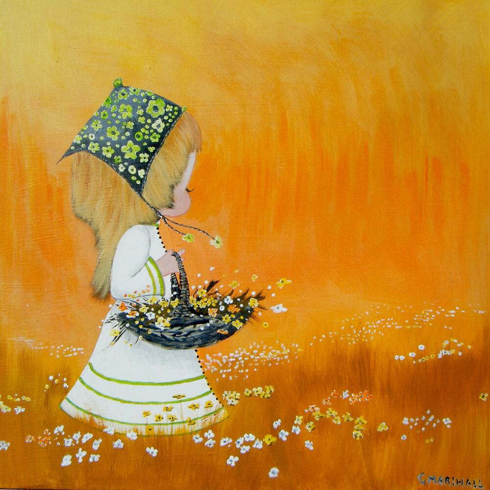 little girl picking flowers by Gary Marshall