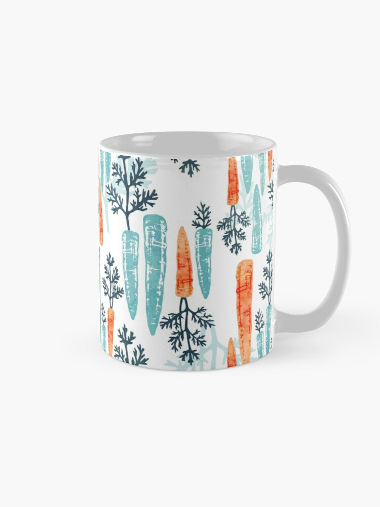 Alternate view of Watercolor carrot repeat on white Mug