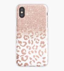Trendy modern faux rose gold glitter ombre leopard pattern iPhone Case/Skin