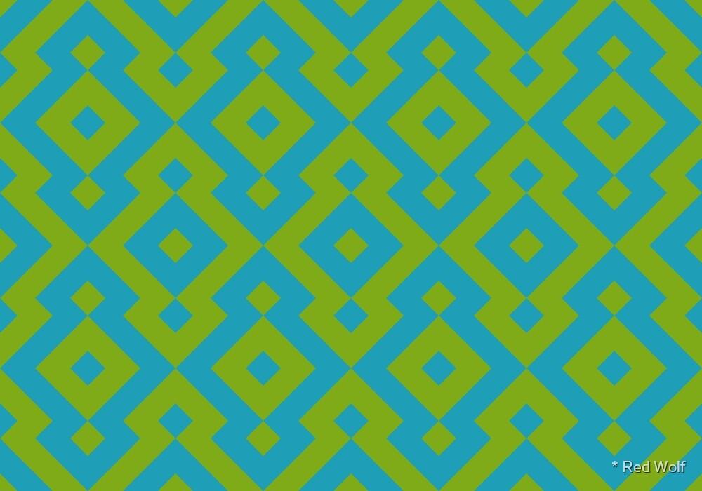 Geometric Pattern: Diamond: Green/Blue by * Red Wolf