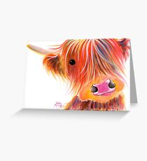 Scottish Highland Cow PRiNT ' SWEET SATSUMA ' by Shirley MacArthur Greeting Card