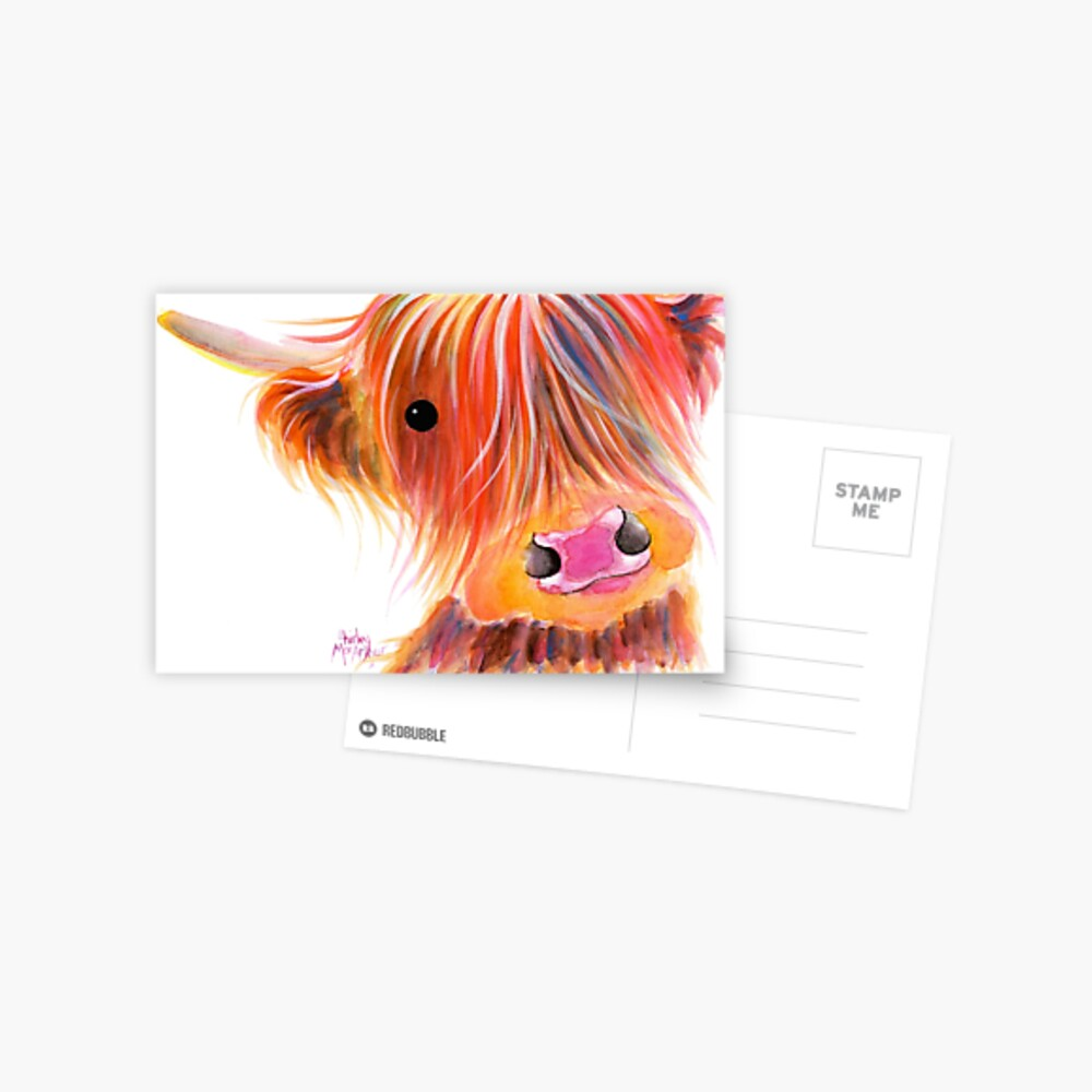 Scottish Highland Cow PRiNT 'SWEET SATSUMA' por Shirley MacArthur Postal