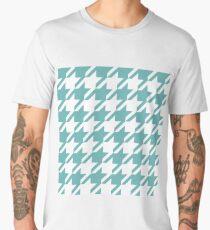 Moonstone Blue Houndstooth Pattern Men's Premium T-Shirt
