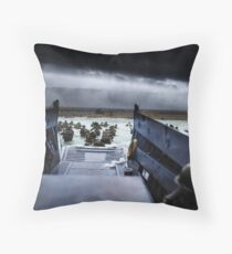 Men of the 16th Infantry Regiment, U.S. 1st Infantry Division wade ashore on Omaha Beach on the morning of 6 June 1944 #DDay Throw Pillow