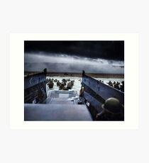 Lámina artística Los hombres del 16. ° Regimiento de Infantería, 1. ° División de Infantería de los EE. UU. Desembarcan en la playa de Omaha la mañana del 6 de junio de 1944 #DDay