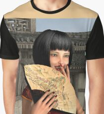 Asian Woman in Red Dress Graphic T-Shirt