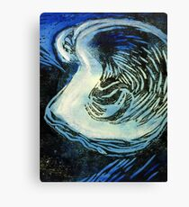 Blue Oyster Deep Sea Painting Canvas Print