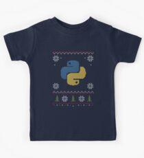 Python Programmer Ugly Sweater Weihnachten Kinder T-Shirt