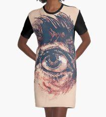 Hairy eyeball is watching you - Rötlich T-Shirt Kleid