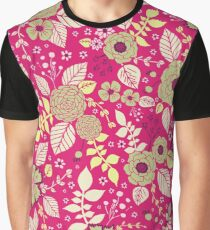 Hot Pink & Green Floral Pattern Graphic T-Shirt