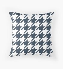 Midnight Blue Houndstooth Pattern Throw Pillow