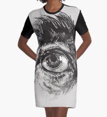 Hairy eyeball is watching you - warm grau T-Shirt Kleid