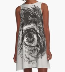 Hairy eyeball is watching you - warm grau A-Linien Kleid