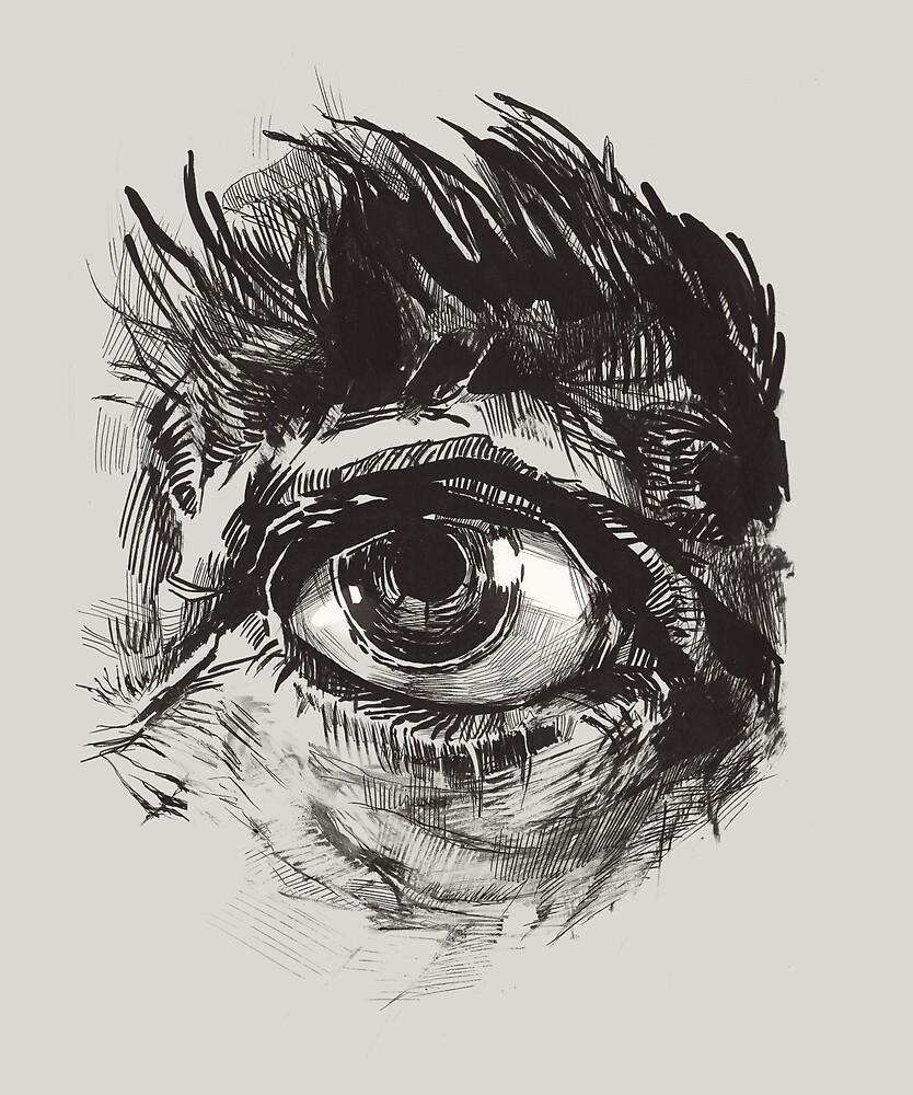Hairy eyeball is watching you - warm grau von Atelier Eyeling